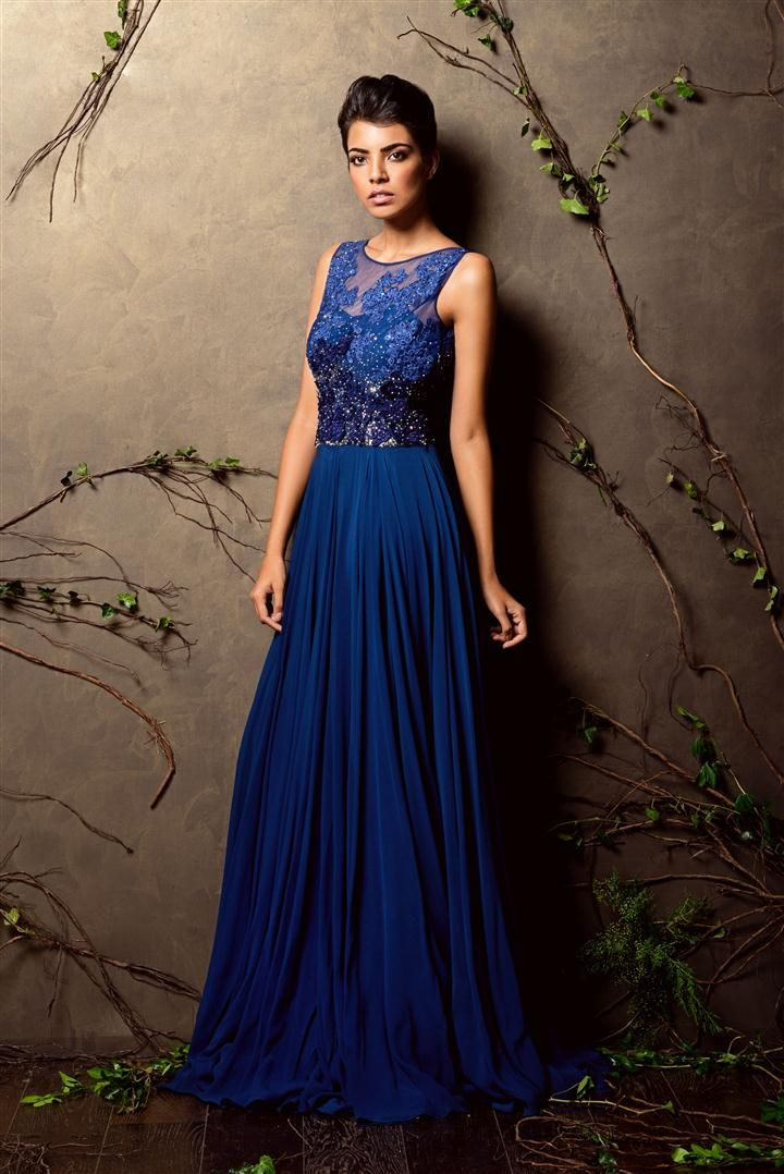 Dark Blue Color Embroidered Attractive Designer Gown FFSK-2059
