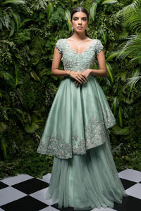 Pastel Green Netted Embroidered Designer Gown FFSK-2058