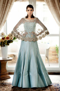 Golden & Pastel Blue Designer Embroidered  Gown FFSK-2056