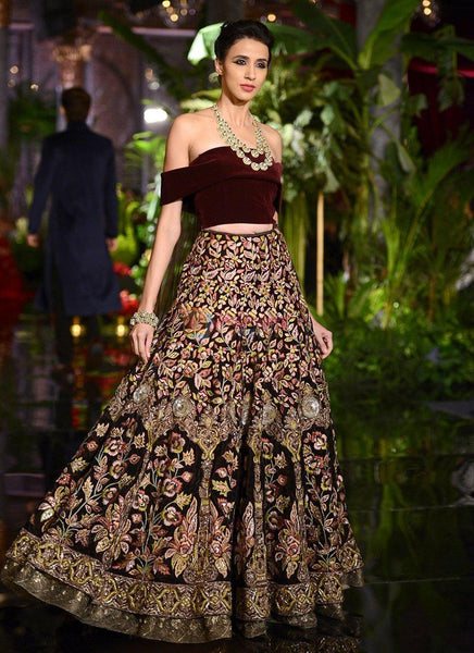 A137-Exclusive Heavy Designer Beautiful Maroon Color Bridal Lehenga Choli - Stylizone