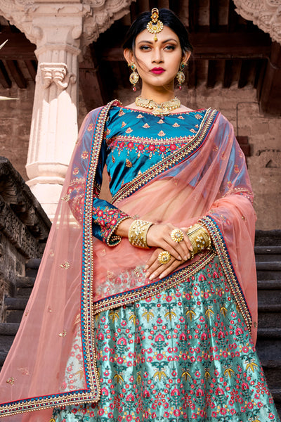 Sky Blue Color Heavy Exclusive Wear Designer Lehenga Choli