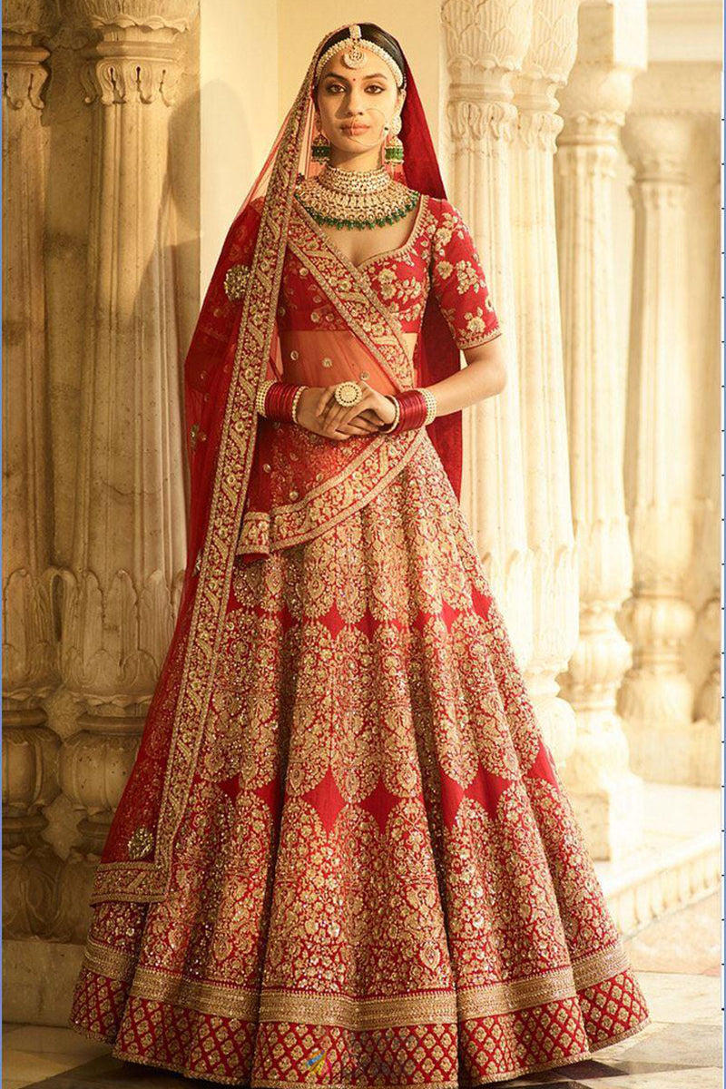 Exclusive Heavy Designer Beautiful Red Color Bridal Lehenga Choli FF245