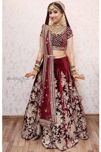 Exclusive Heavy Designer Maroon Color Floral Designer Bridal Lehenga Choli FF267