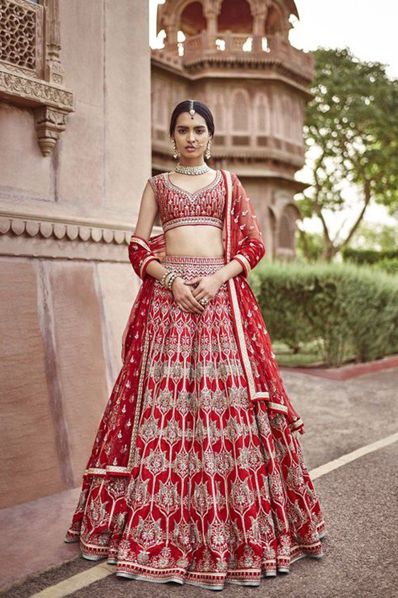 Exclusive Heavy Designer Beautiful Bridal Red Color Bridal Lehenga Choli