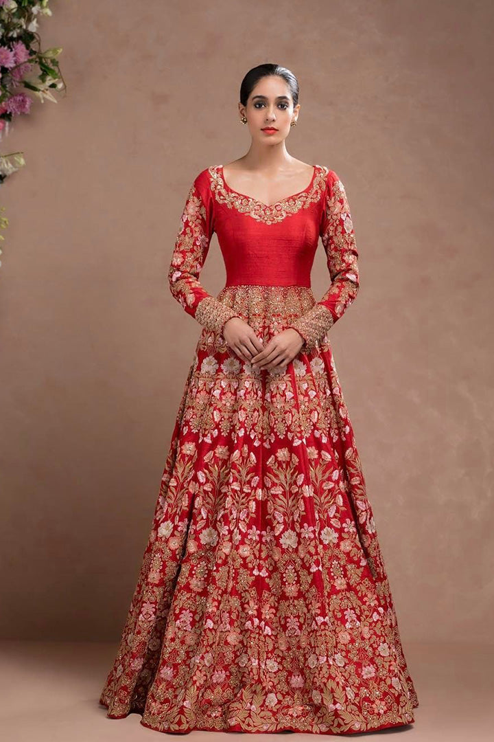 Blood Red Designer Embroidered Gown FFSK-2032