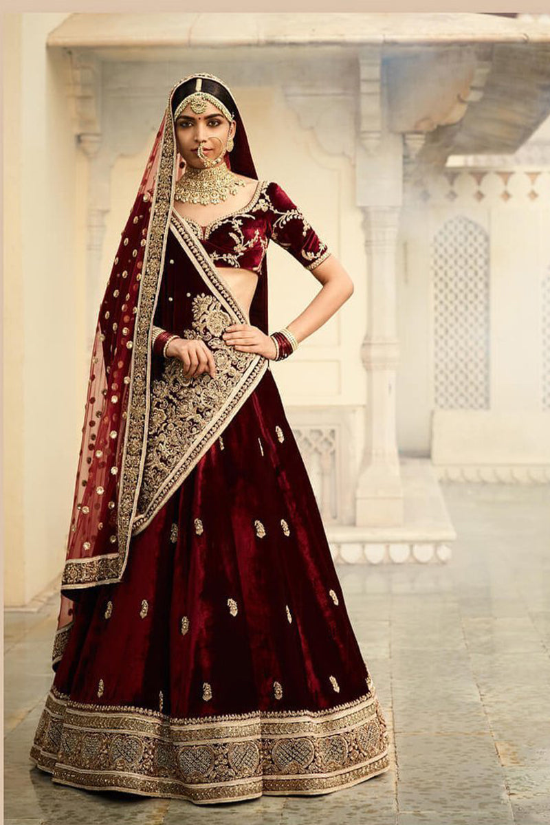 Exclusive Heavy Designer Beautiful Wine Color Bridal Lehenga Choli FF262