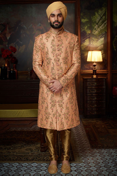 Coral Orange Raw Silk Zari Woven Wedding Sherwani FS130