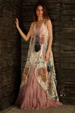 Off-White With Peach Designer Gown FF1063