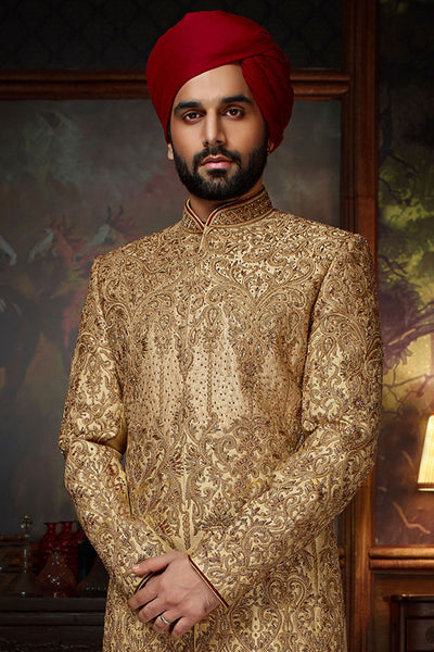 Gold Raw Silk Cutdana Embroidered Wedding Sherwani FS131