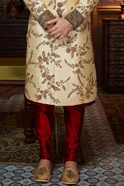 Cream Raw Silk Zari Embroidered Wedding Sherwani