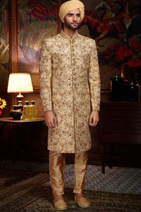 Beige Raw Silk Zari Embroidered Wedding Sherwani FS133