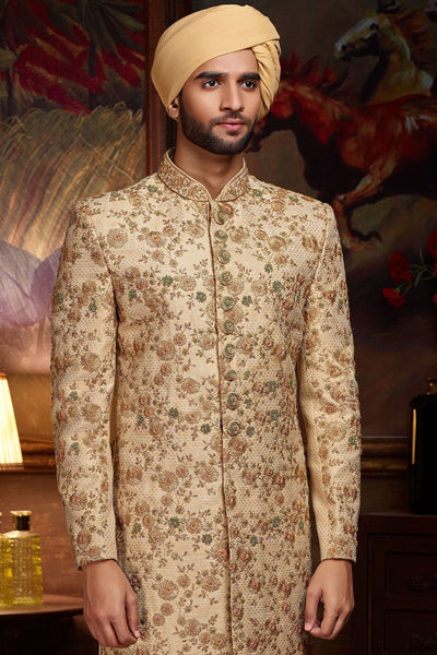 Beige Raw Silk Zari Embroidered Wedding Sherwani