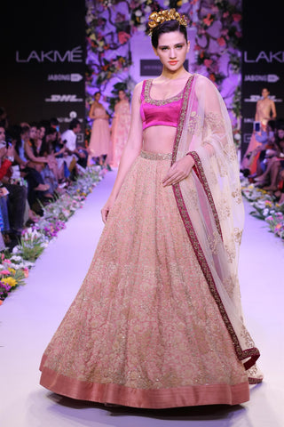 A Light Peach  Embroidered Lehenga For Wedding FF1520