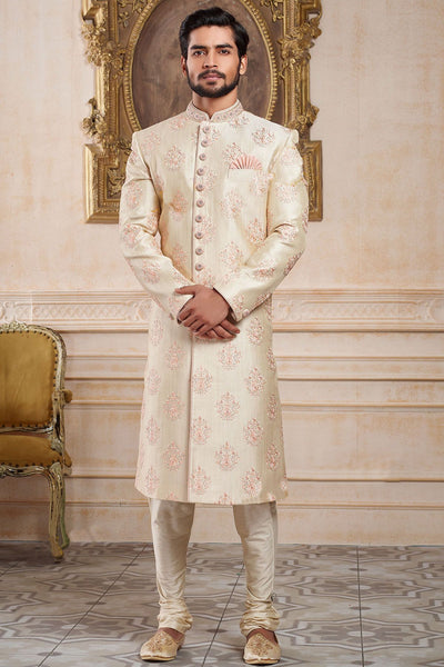 Cream Raw Silk Thread Embroidered Wedding Sherwani
