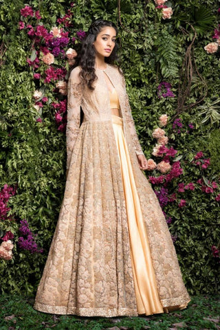 A Light Peach  Embroidered Lehenga For Wedding FF1519