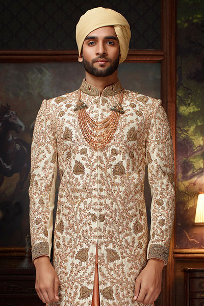 White & Orange Raw Silk Zari Embroidered Wedding Sherwani FS135