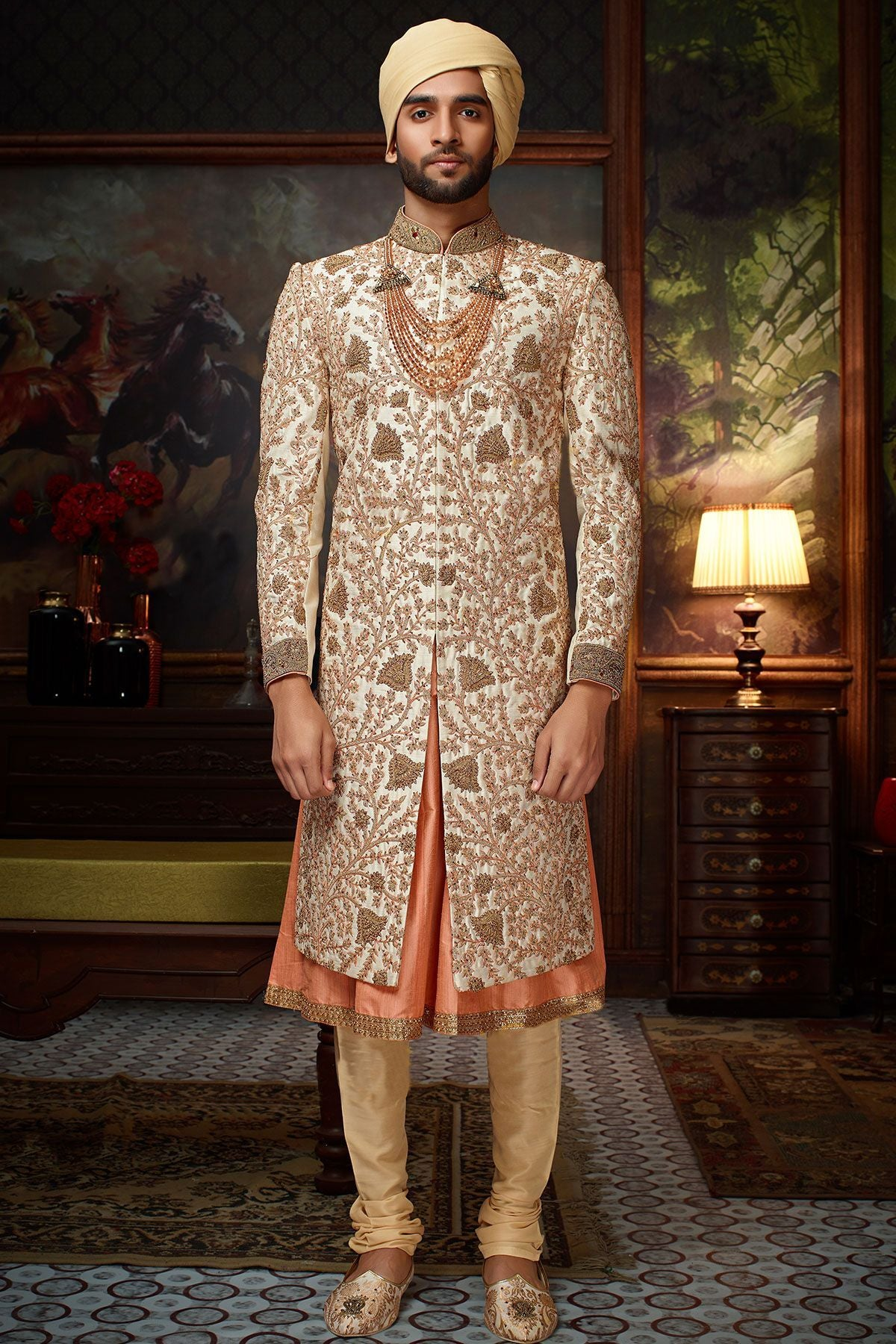 White & Orange Raw Silk Zari Embroidered Wedding Sherwani