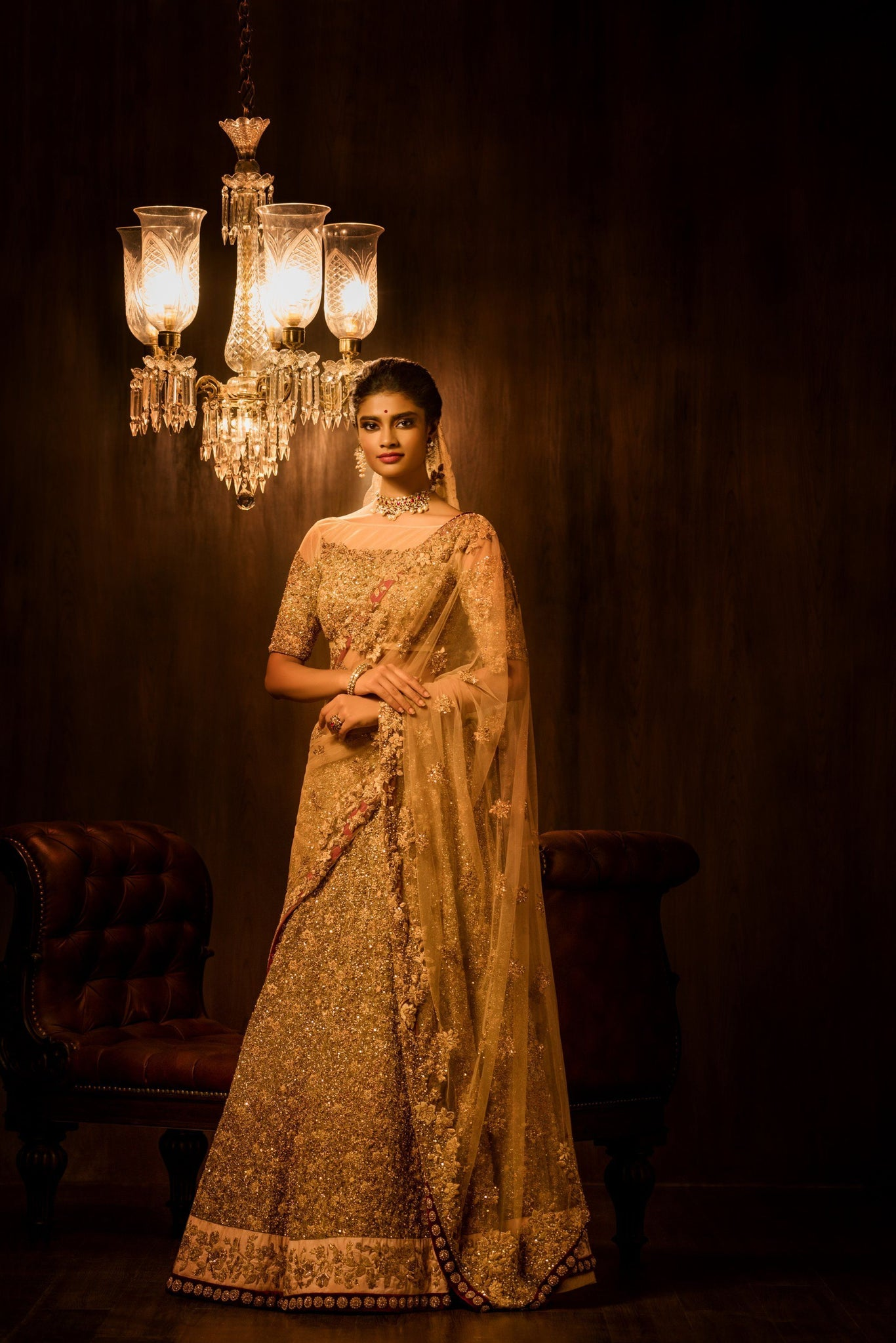 A Golden Bridal Embroidered Lehenga Choli For Wedding