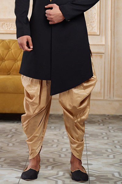 Black Zardosi Embroidered Italian Indowestern Sherwani FS137