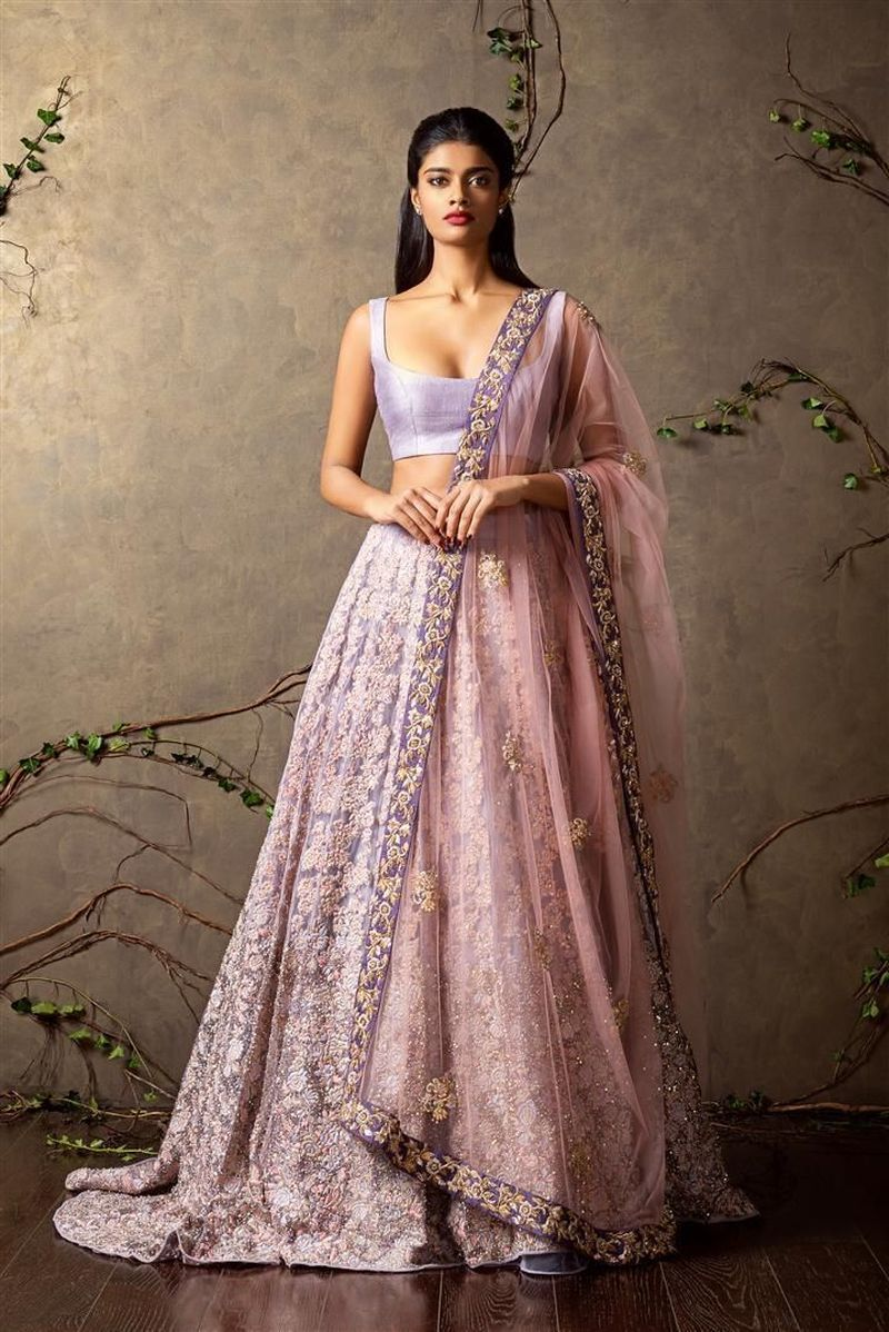 A Peach-Burgundy Color Embroidered Lehenga For Wedding