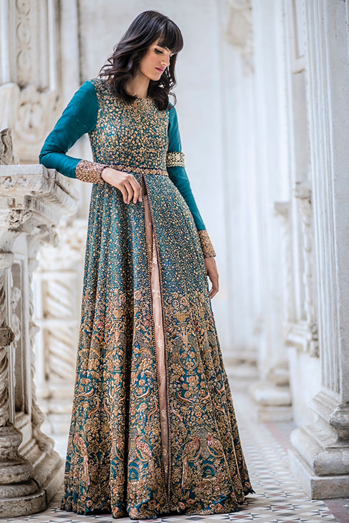 Peacock Green Embroidered Gown FFSK-2036