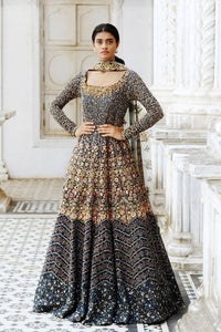 Beautiful Navy Blue Color Attractive Designer Embroidered Gown