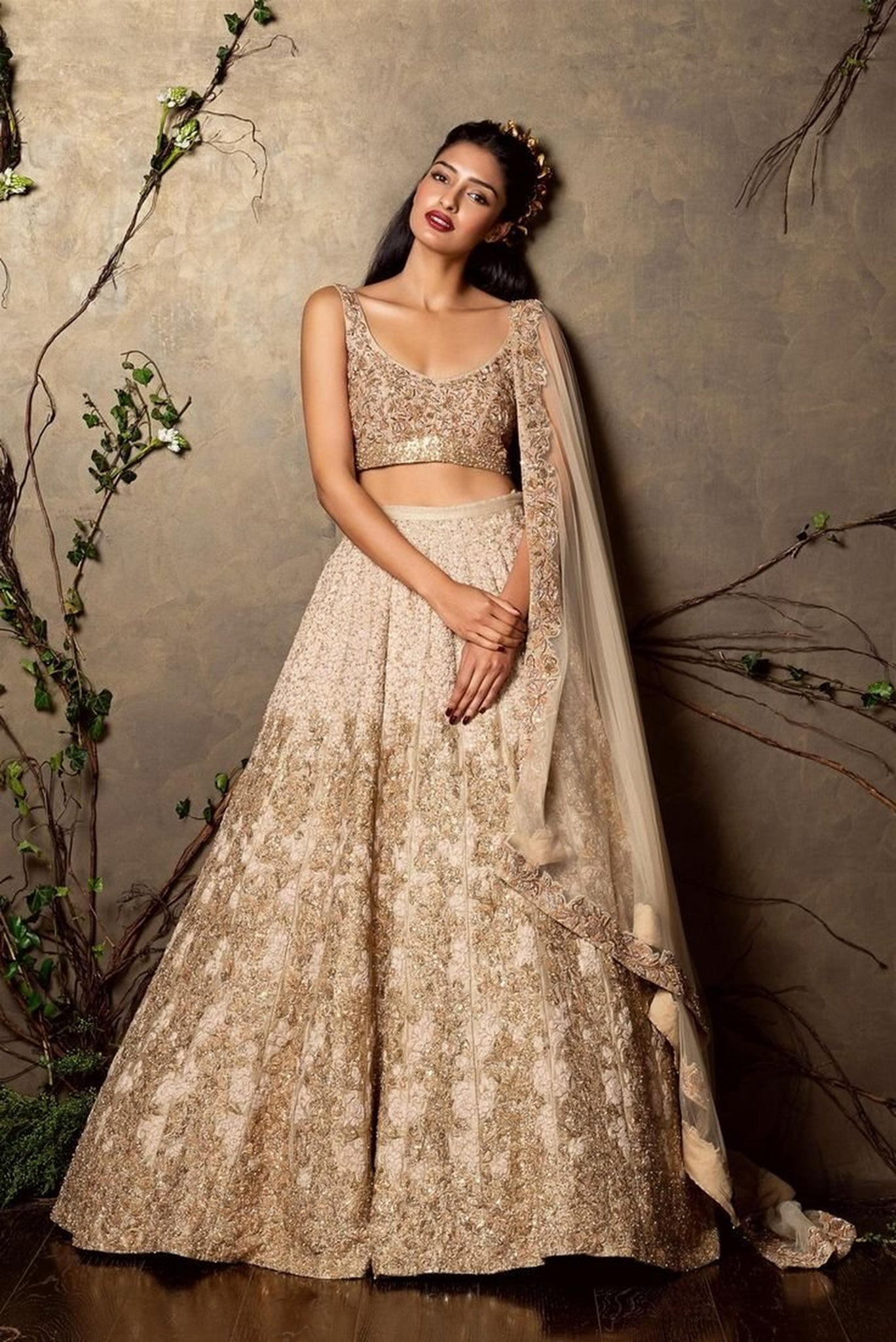 A Pearl White Embroidered & Hand Work Lehenga FF1513