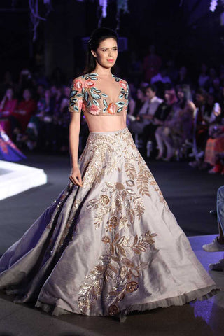 A Light Grey Color Designer Hand Made Lehenga Choli FBL-1034