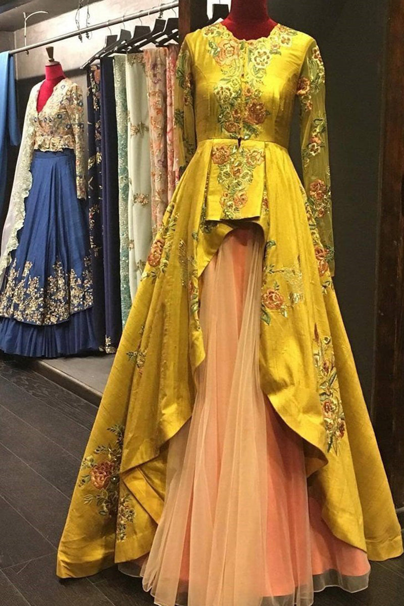 Exclusive Heavy Designer Beautiful Yellow color Fancy Lehenga Anarkali Suit FF263