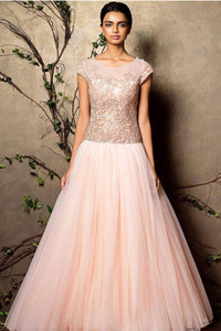Light Peach Color Embroidered Gown For Party