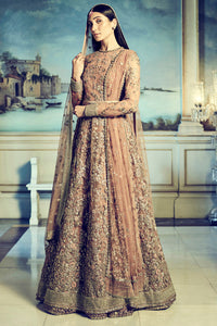 Light Peach Designer Embroidered Gown FFSK-2012