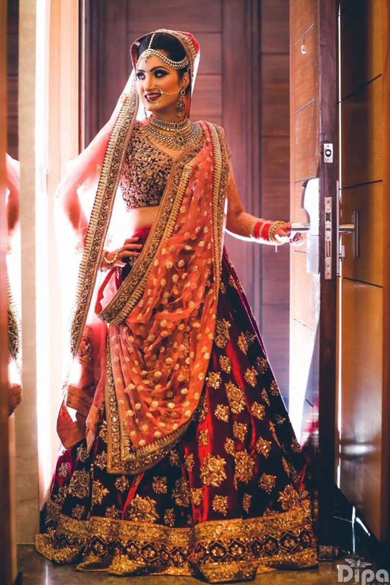 Exclusive Heavy Designer Beautiful Maroon Color Bridal Lehenga Choli FF105