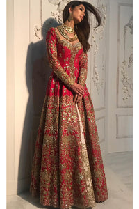 Red & Baby Pink Color Combination Beautiful Designer Gown FFSK-2016