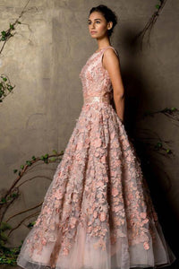 Light Pink Color Fully Embroidered Gown For Bride FF1073