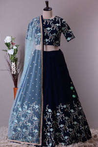 Dark Blue Color Party Wear Embroidered Lehenga Choli