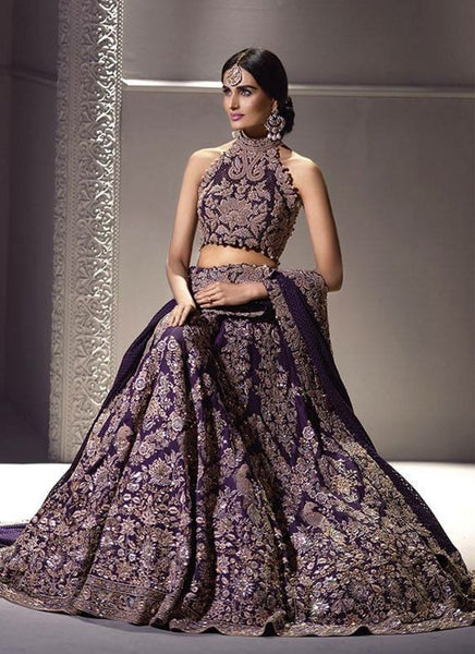 A130-Exclusive Heavy Designer Beautiful Purple Color Bridal Lehenga Choli - Stylizone