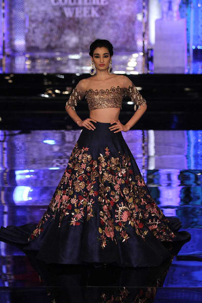 A Navy Blue Wedding Designer Lehenga Choli FBL-1020
