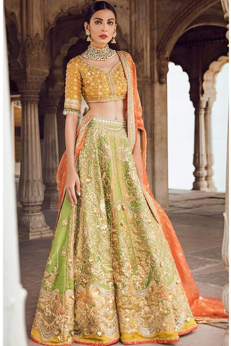 Light Green Color Mehendi Lehenga For Wedding FF326