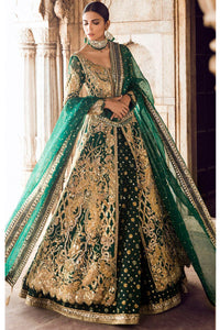 Dark Green Color Hand Work With Embroidered Lehenga For Wedding