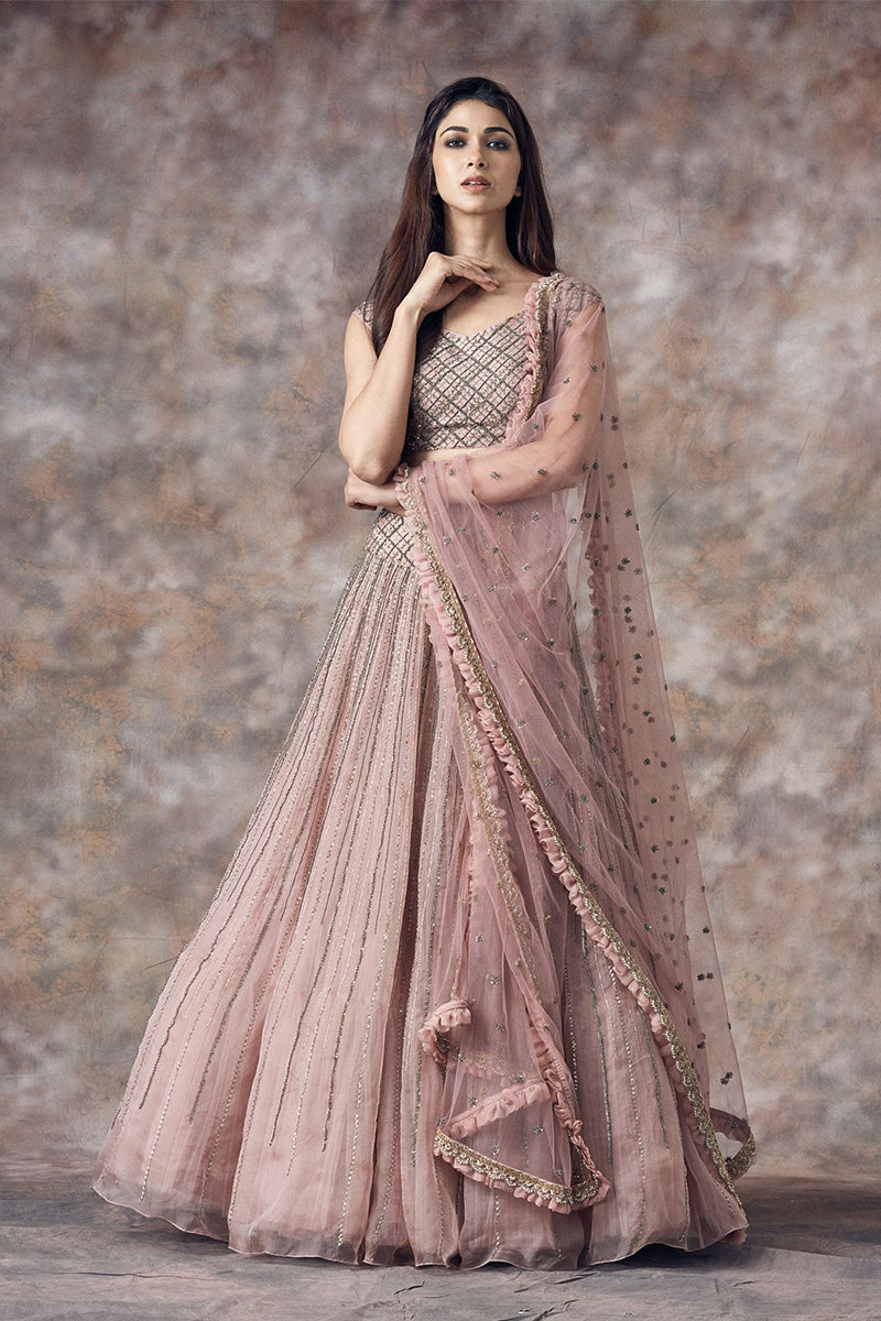 A Pastel Pink & Grey Color Embrodered Lehenga FF1509