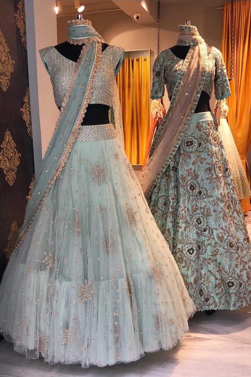 A Baby Sky Blue Embroidered Fully Designer Lehenga Choli FF1810