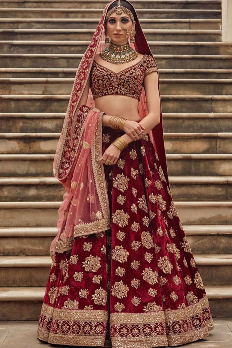 Exclusive Heavy Designer Beautiful Bridal Marron Color Floral Design Bridal Lehenga Choli