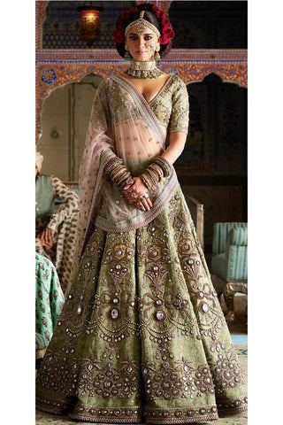 A Light Green Color Bridal Lehenga Choli FBL-1015