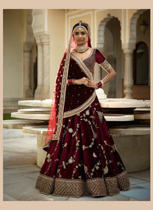 A124-Exclusive Heavy Designer Beautiful Wine Color Bridal Lehenga Choli - Stylizone