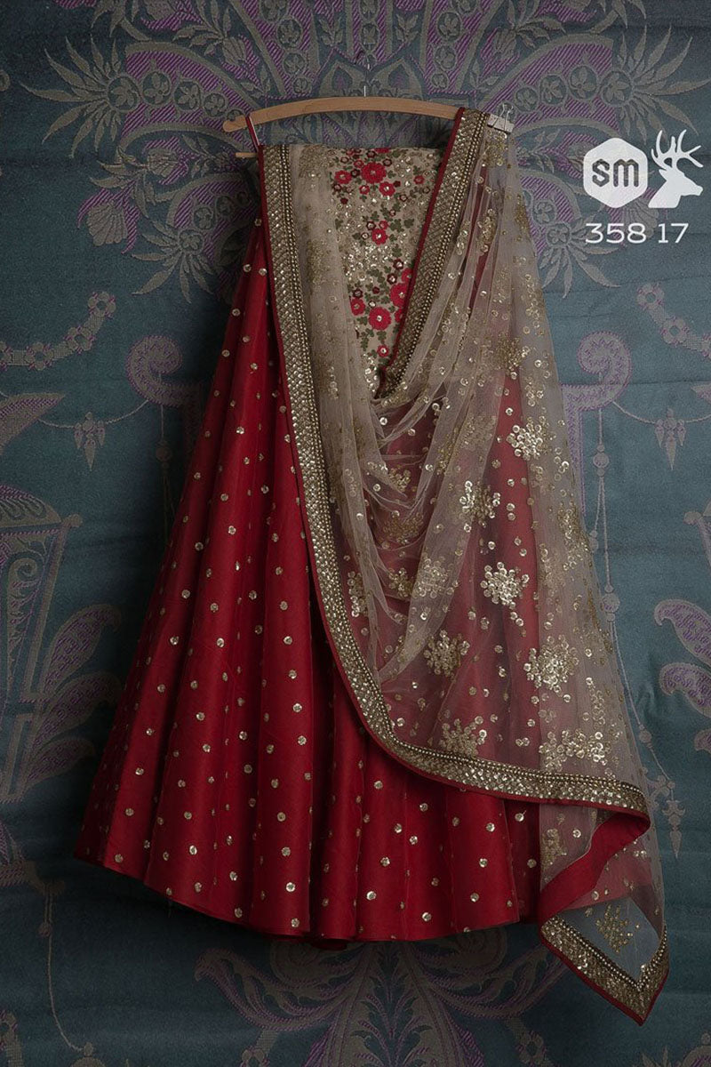 Red & Grey Color Combination Attractive Designer Lehenga Choli FL165