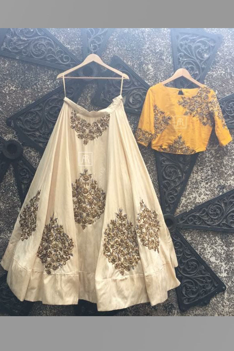 Off-White & Yellow Color Combination Designer Lehenga Choli