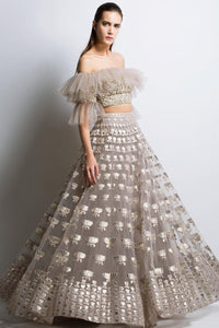 A Light Grey Color Embroidered Lehenga Choli FBL-1002
