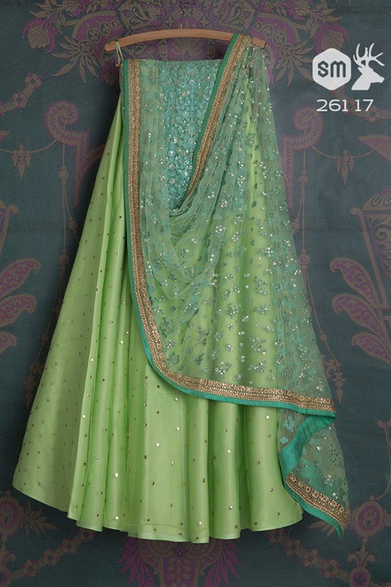 Green Ton Beautiful Designer Embroidered Lehenga Choli FL171