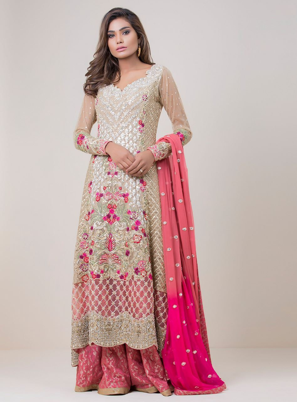 Beige and Pink Color Combination Sharara Set FF101