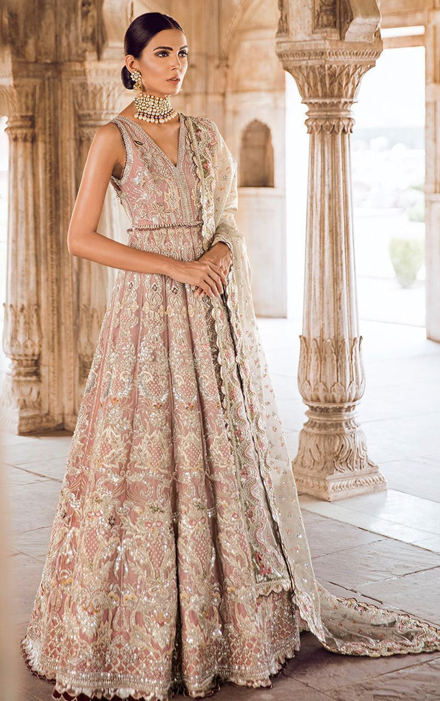 Lilac Colour Fully Embroidered Wedding Wear Walima Dress